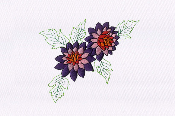 Purple Pink Floral Single Flowers & Plants Embroidery Design By DigitEMB