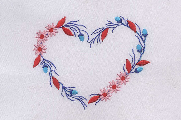 Red Blue Heart Embroidery