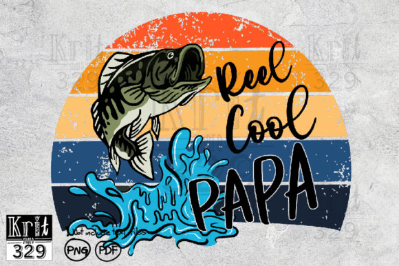 Reel Cool Papa Sunset PNG Sublimation Graphic Print Templates By Krit-Studio329