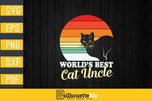 Print on Demand: Retro World's Best Cat Uncle Graphic Print Templates By Silhouettefile