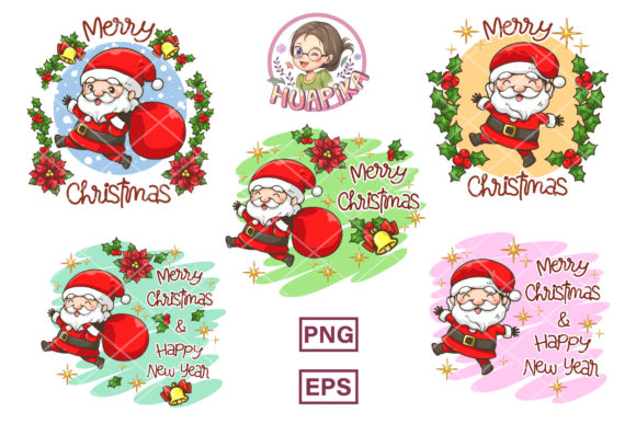 Santa Claus Merry Christmas Logo Graphic Illustrations By huapika