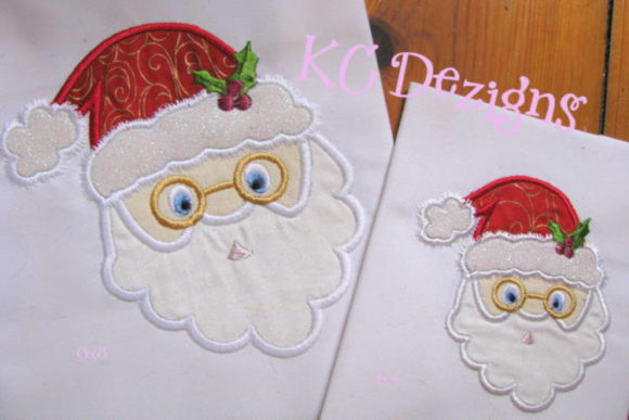 Santa with Glasses Christmas Embroidery Design By karen50