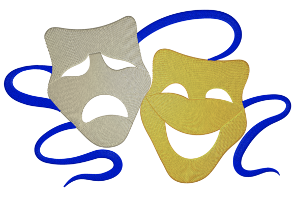 Theater Masks Embroidery Item