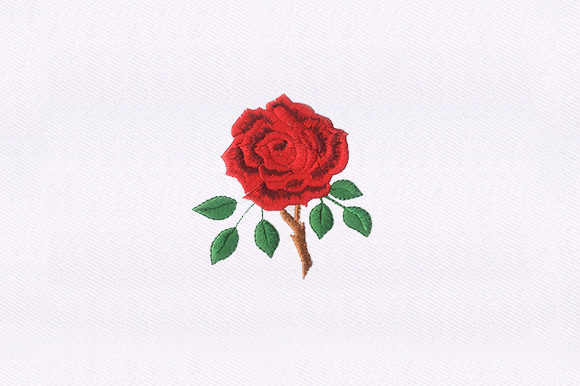 Thorny Red Rose Single Flowers & Plants Embroidery Design By DigitEMB