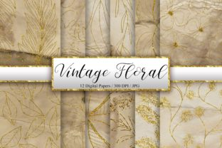 Print on Demand: Vintage Floral Glitter Background Graphic Backgrounds By PinkPearly