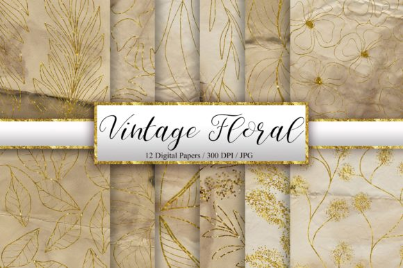Vintage Floral Glitter Background Graphic Backgrounds By PinkPearly