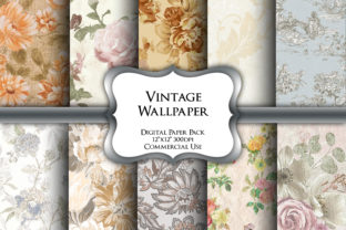 Print on Demand: Vintage Wallpaper Digital Paper Pack Graphic Backgrounds By Party Pixelz