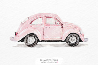 Print on Demand: Watercolor Pink Vintage Car Sideways Graphic Crafts By Chonnieartwork