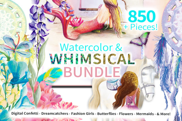Whimsical Watercolor Graphics Bundle Graphic