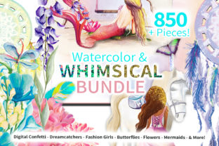 Print on Demand: Whimsical Watercolor Graphics Bundle Graphic Illustrations By Digital Doodlers