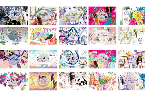 Whimsical Watercolor Graphics Bundle Graphic Download