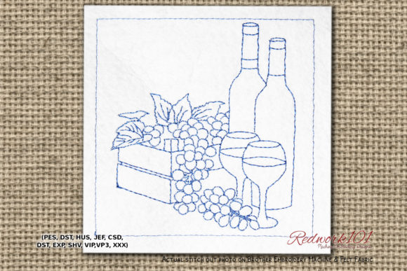 Wine with Grapes Redwork Wine & Drinks Embroidery Design By Redwork101