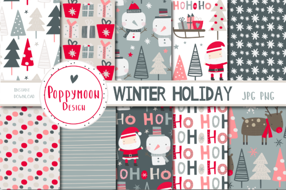 Winter Holiday Paper Set Graphic
