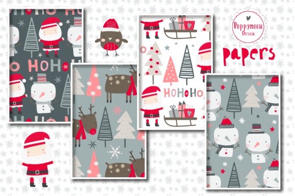 Winter Holiday Paper Set Graphic Download