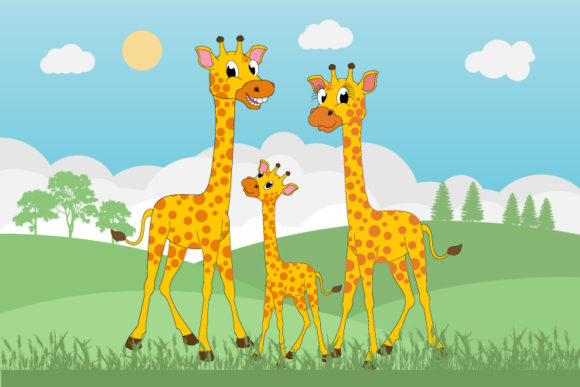 Print on Demand: Cute Giraffe Family Graphic Illustrations By curutdesign