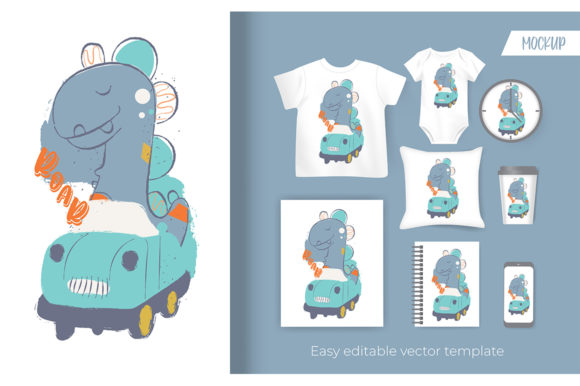 Cute Little Dino Riding a Car Graphic Illustrations By Aghiez