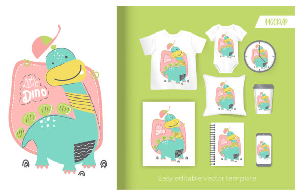 Cute Little Dinosaur Cartoon Graphic Illustrations By Aghiez