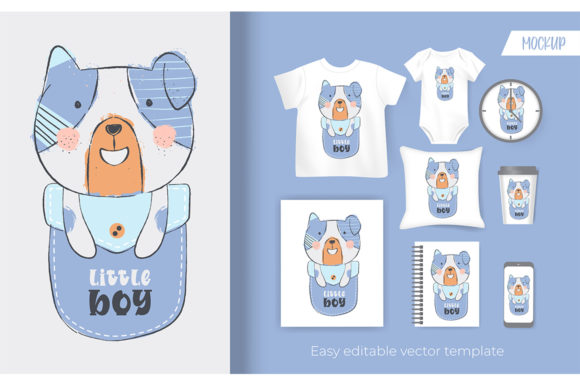 Cute Little Puppy on Pocket Cartoon Graphic Illustrations By Aghiez