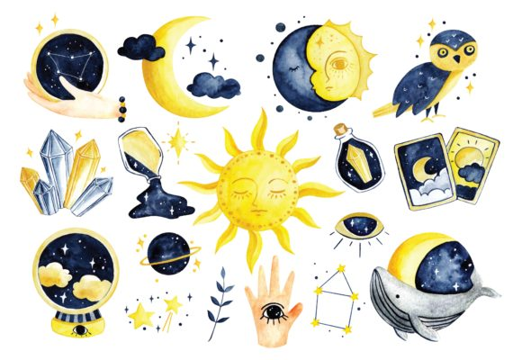 Mystic Astronomy in Water Color Vector Graphic Illustrations By Big Barn Doodles