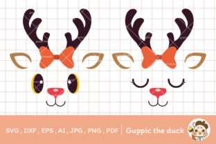 Raindeer Svg with Red Ribbon Clipart Graphic Illustrations By Guppic the duck