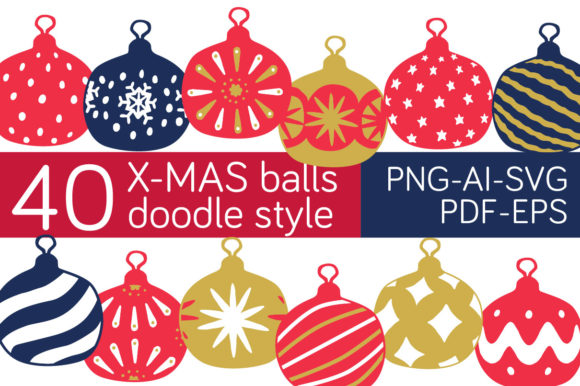 Print on Demand: Xmas Ornament Doodle Balls Clipart Graphic Illustrations By Milaski