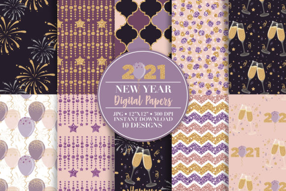 2021 New Year Digital Paper & Clip Art Graphic Patterns By Sgt.Ruthless