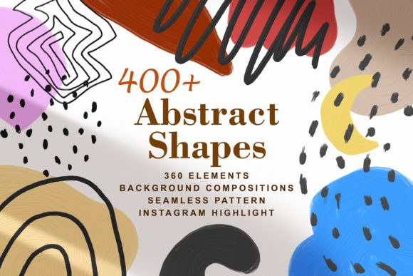 Print on Demand: 400+ Abstract Shapes Textured Elements Graphic Objects By Rimbu Creative