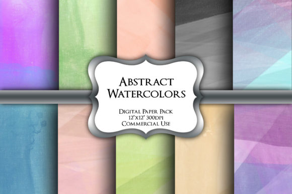 Print on Demand: Abstract Watercolors Digital Paper Pack Graphic Backgrounds By Party Pixelz