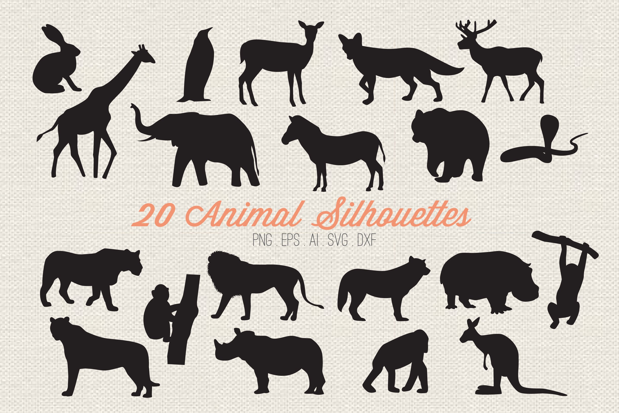 Animal Silhouettes SVG File