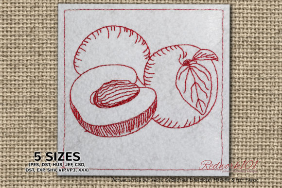 Apricot Fruits with Sliced Redwork Food & Dining Embroidery Design By Redwork101