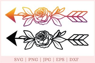Arrows with Flower, Arrow   Graphic Print Templates By CrazyCutDesigns