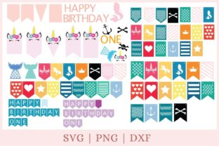 Birthday Banner Graphic Print Templates By CrazyCutDesigns