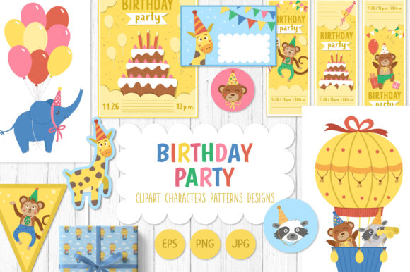 Birthday Party Graphic Illustrations By lexiclaus