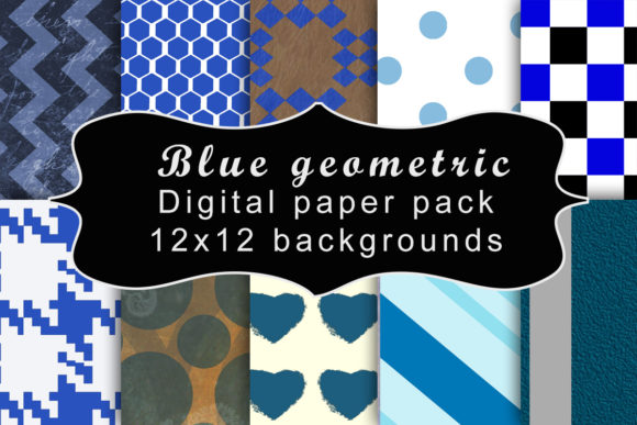 Print on Demand: Blue Geometric Digital Paper Pack Graphic Backgrounds By A Design in Time