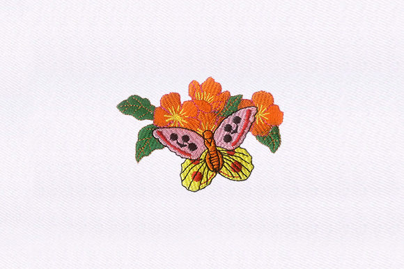 Butterfly & Flowers Single Flowers & Plants Embroidery Design By DigitEMB