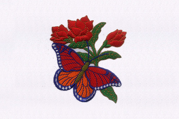 Butterfly Rose Single Flowers & Plants Embroidery Design By DigitEMB