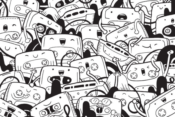 Cassette Doodle Art Graphic Coloring Pages & Books By medzcreative