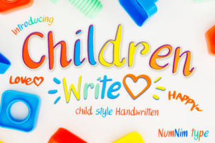 Print on Demand: Children Write Script & Handwritten Font By numnim