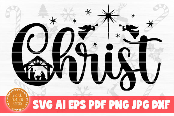 Print on Demand: Christ Nativity Christmas SVG Cut File Graphic Crafts By VectorCreationStudio
