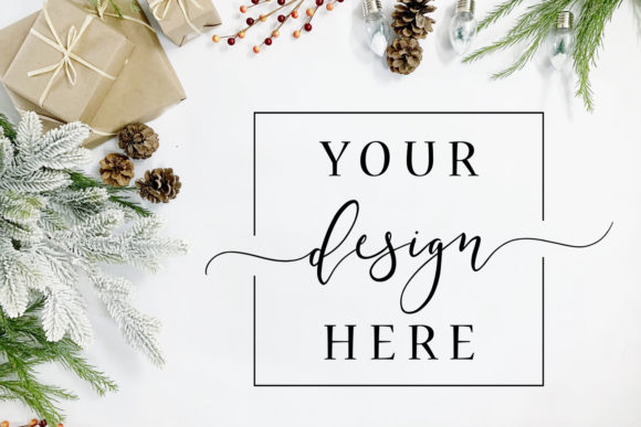 Christmas Background Mockup White Flat Graphic Photos By SlyDesignStudio