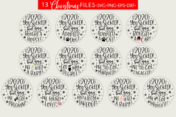 Christmas Baubles Bundle 2020 You Sucked Graphic Download
