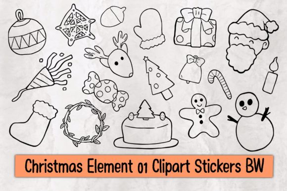 Christmas Element 01 Clipart Stickers BW Graphic Illustrations By TakeNoteDesign