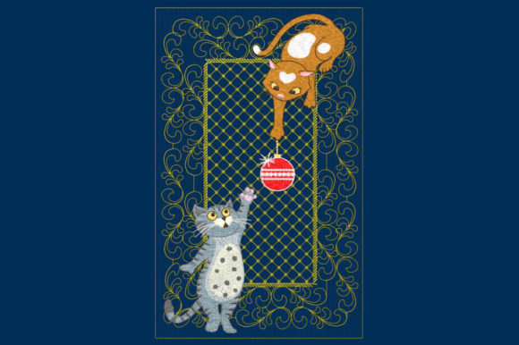 Christmas Kitties Cats Embroidery Design By DNE embroidery