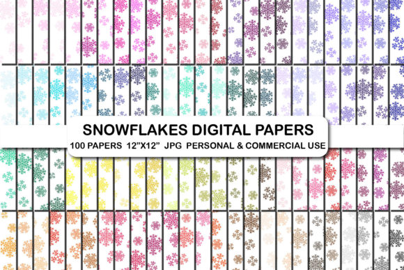 Christmas Snowflakes Digital Paper Pack Graphic Backgrounds By bestgraphicsonline