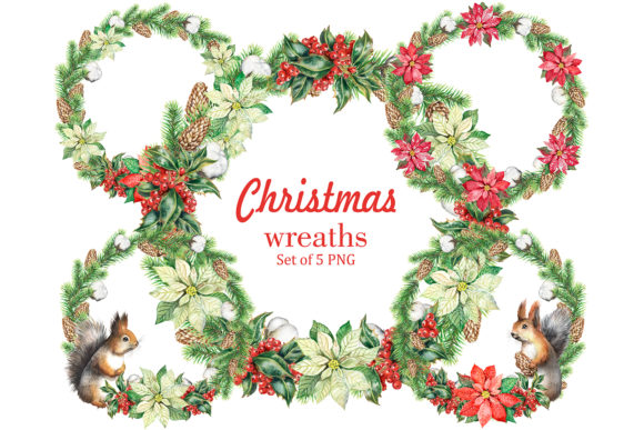 Christmas Wreaths Watercolor Set Holiday Graphic Add-ons By EvArtPrint