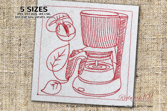 Coffee Maker Machine Kitchen & Cooking Embroidery Design By Redwork101