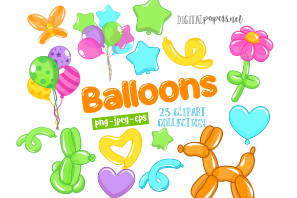 Print on Demand: Colorful Balloons Clipart Set Graphic Illustrations By DigitalPapers