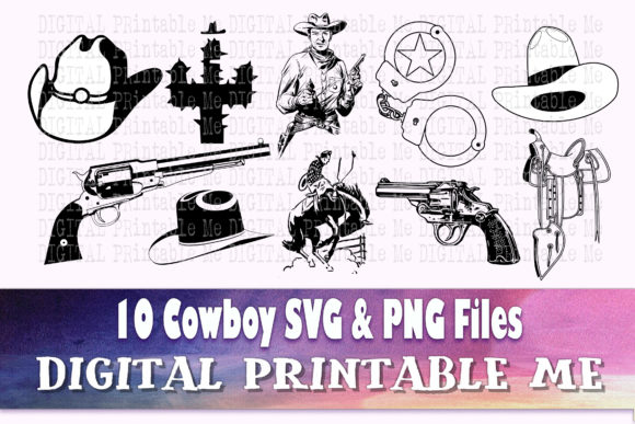 Print on Demand: Cowboy Svg Wild West Western Png Drawing Graphic Crafts By DigitalPrintableMe