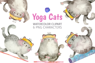 Print on Demand: Cute Cats Yoga Watercolor Clipart Graphic Illustrations By ValinMalin