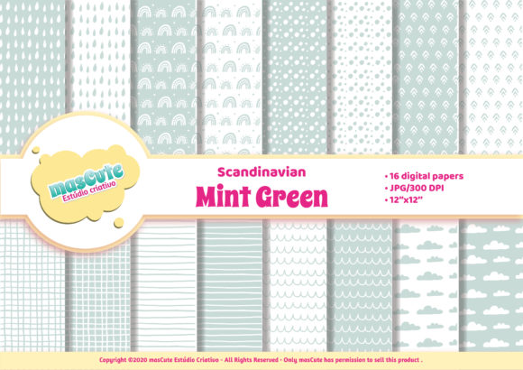 Print on Demand: Digital Paper Pack - Scandi Mint Green Graphic Patterns By mascute.arte